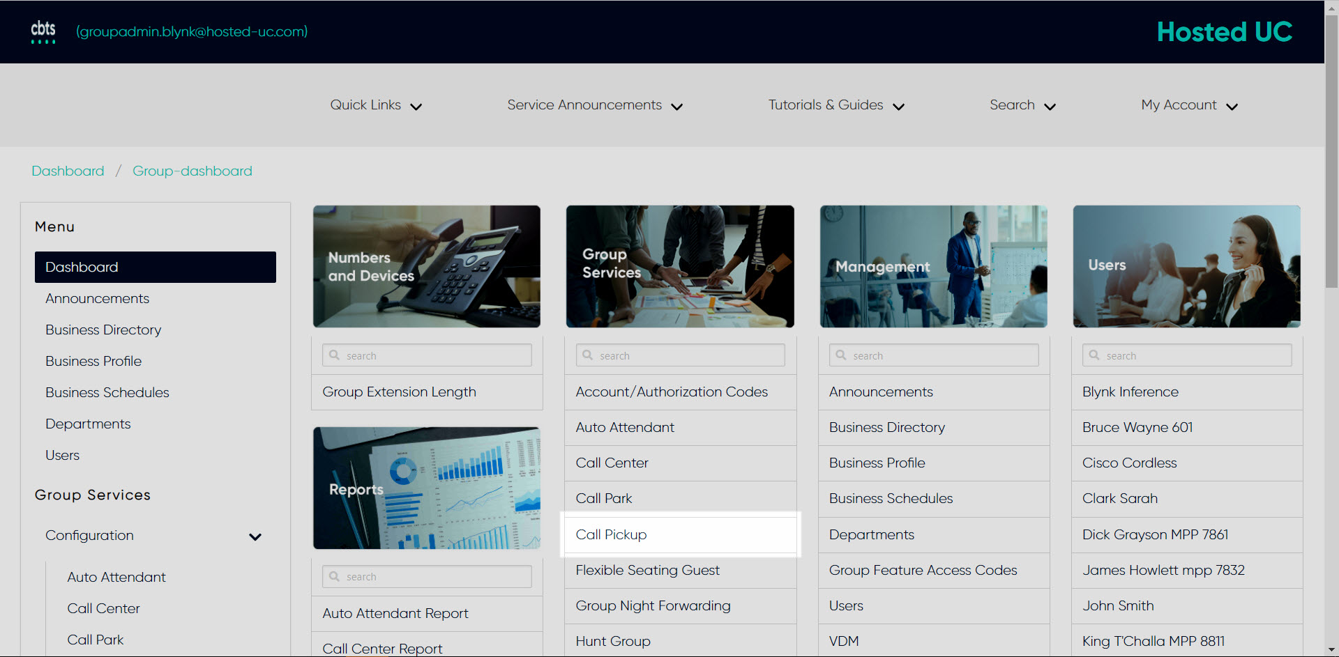 , CBTS Hosted UC Support Portal